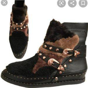 Ivy Kirzhner Antarctic Shearling Patchwork boots